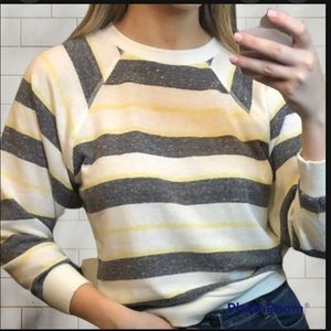 Urban Outfitters 90's Vintage Crew Neck Lightweight Stripe Sweater Grey n Yellow